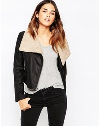 Asos Collection Biker Jacket With Borg Waterfall