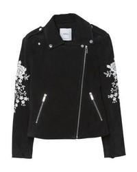 Mango Embo Leather Jacket Black