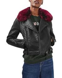 Topshop Honey Faux Fur Collar Faux Leather Moto Jacket