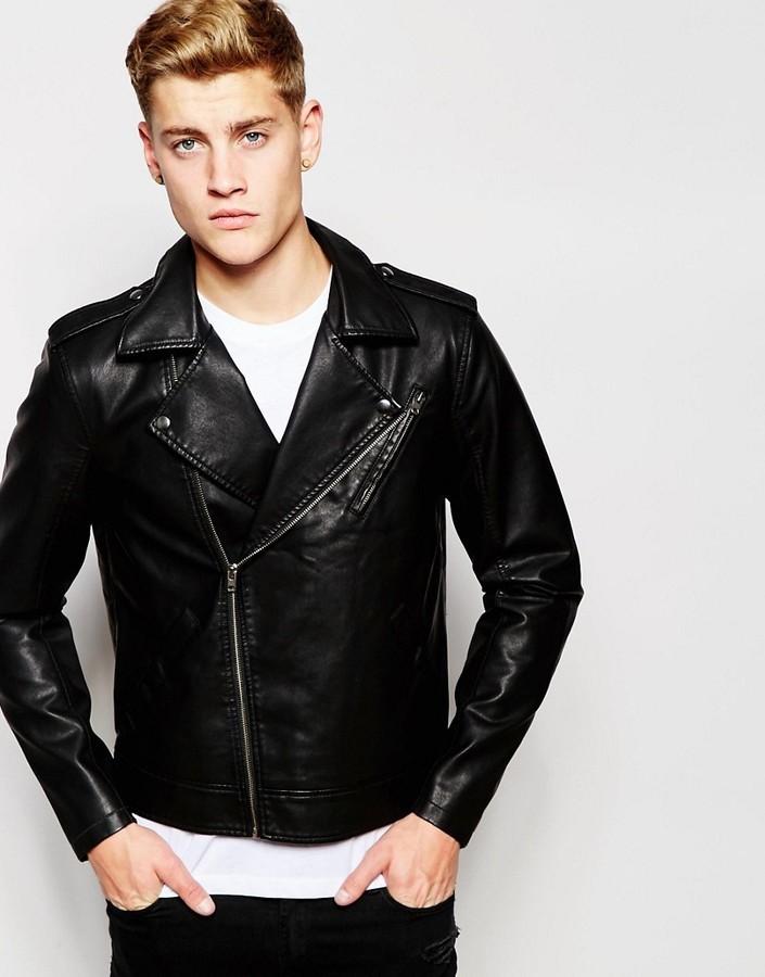 52e6ba9a2 £87, Jack and Jones Jack Jones Faux Leather Biker Jacket