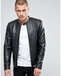 Pretty Green Leather Biker Jacket In Slim Fit Black