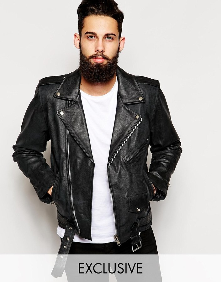 f607aba5c32d5 Reclaimed Vintage Leather Biker Jacket, £192 | Asos | Lookastic UK