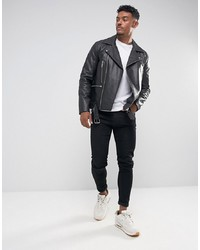 ASOS DESIGN Leather Biker Jacket With Belt In Black