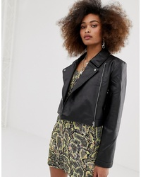 Collusion Leather Look Biker Jacket