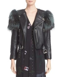 Marc Jacobs Leather Moto Jacket With Genuine Fox Fur Trim
