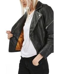 Topshop Lightning Leather Biker Jacket