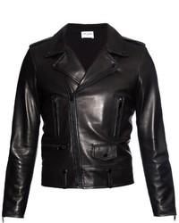 Saint Laurent Notch Lapel Leather Biker Jacket