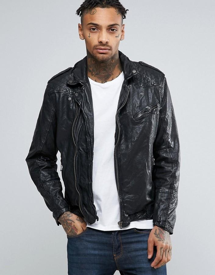 best service 60677 f4120 £192, Pepe Jeans Pepe Godot Leather Biker Jacket