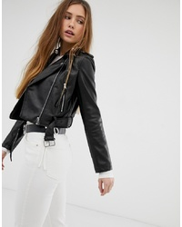 Bershka Pu Cropped Jacket In Black
