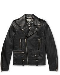 Saint Laurent Slim Fit Textured Leather Biker Jacket
