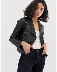 ASOS DESIGN Soft Leather Biker Jacket