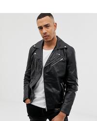 ASOS DESIGN Tall Leather Biker Jacket In Black