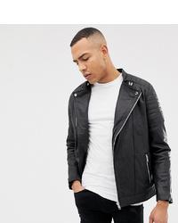 Jacamo Tall Smart Leather Biker Jacket