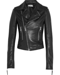 Balenciaga Textured Leather Biker Jacket Black