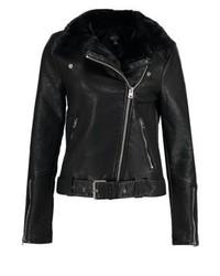 Topshop Vardy Faux Leather Jacket Black