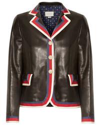Gucci Grosgrain Trimmed Appliqud Leather Blazer Black