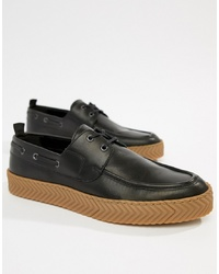 ASOS DESIGN Boat Shoes In Black With Gum Sole