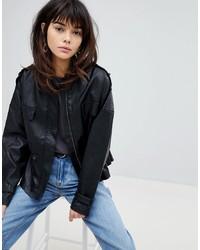 Vero Moda 80s Leather Look Waisted Jacket