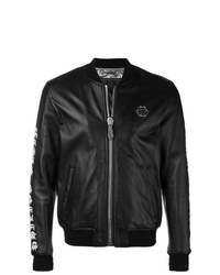 Philipp Plein Back Print Leather Jacket