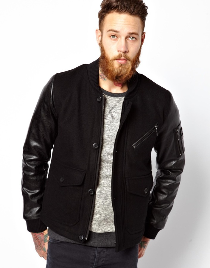 drop shipping exclusive deals top-rated original Black Jacket With Leather Sleeves