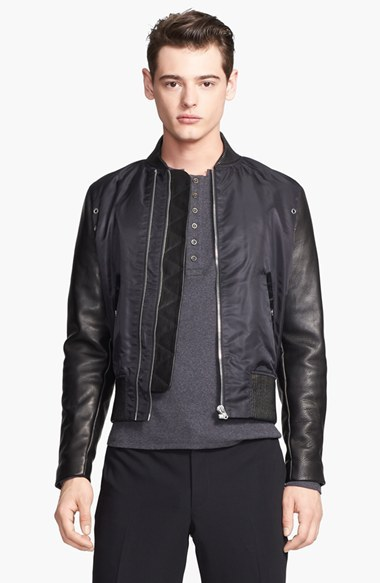 The Kooples Bomber Jacket With Leather Sleeves | Where to buy ...