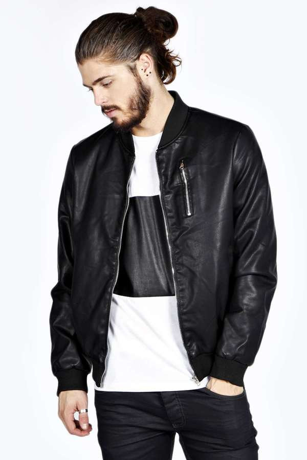 Boohoo Slim Fit Leather Look Bomber Jacket | Where to buy & how to ...