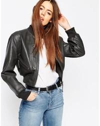 908aeb5e32e Asos Women's Black Leather Bomber Jackets from Asos | Women's ...