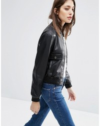 Asos Collection Cropped Bomber Jacket Pu