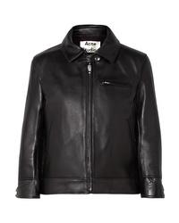 Acne Studios Cropped Leather Biker Jacket
