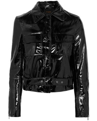 Maje Cropped Patent Leather Jacket