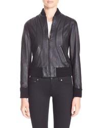 Saint Laurent Crystal Embellished Leather Bomber Jacket
