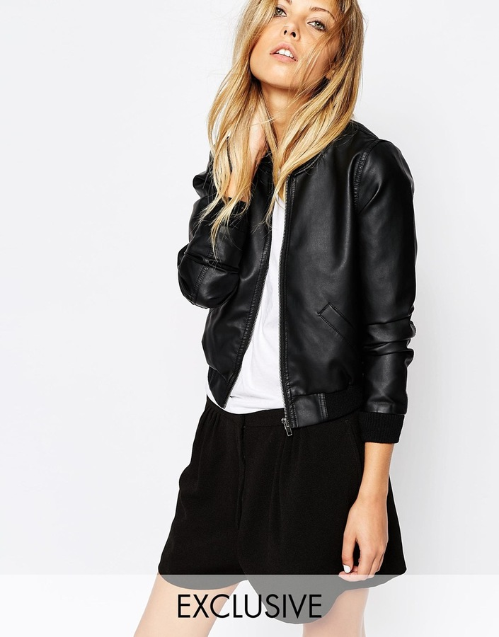 Noisy May Faux Leather Bomber Jacket Where To Buy How To Wear