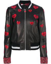 Philipp Plein Frios Leather Bomber Jacket
