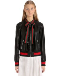 Gucci Embellished Nappa Leather Bomber Jacket