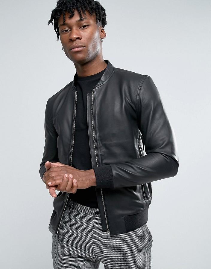nouveau produit 1426b 954f6 £188, Selected Homme Leather Bomber Jacket