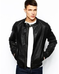 Men S Black Leather Bomber Jackets By Jack And Jones Men S Fashion