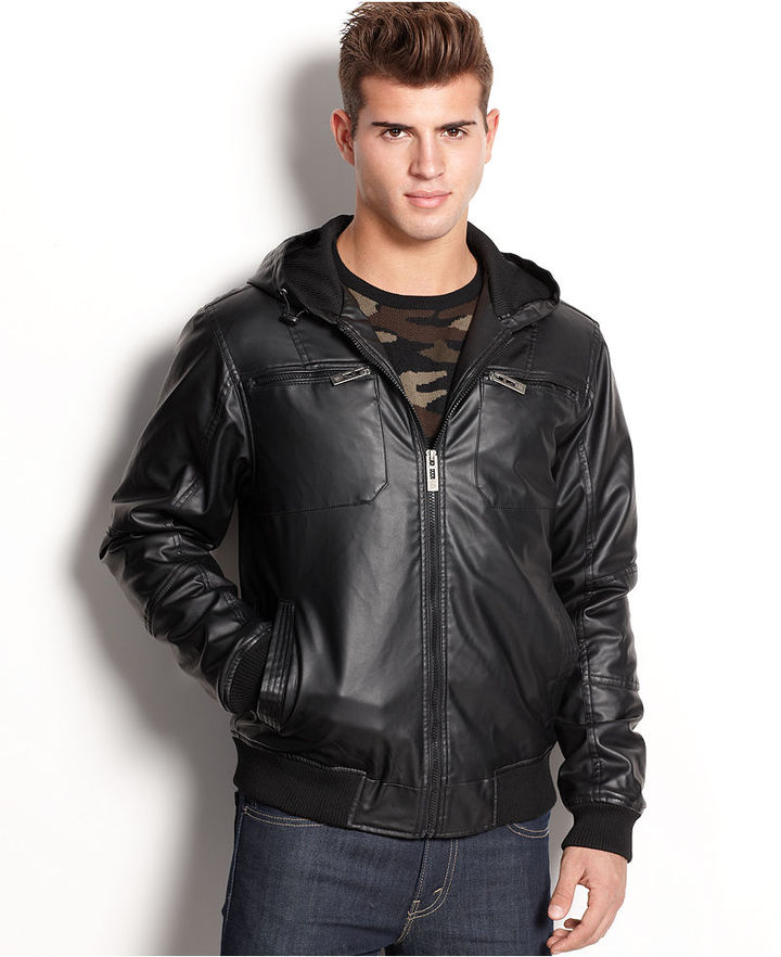 Brave Soul Jacket Hooded Faux Leather Bomber | Where to buy & how ...