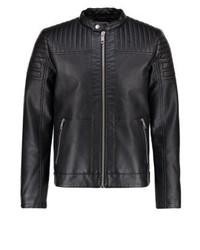 Jack & Jones Jcomagic Faux Leather Jacket Black