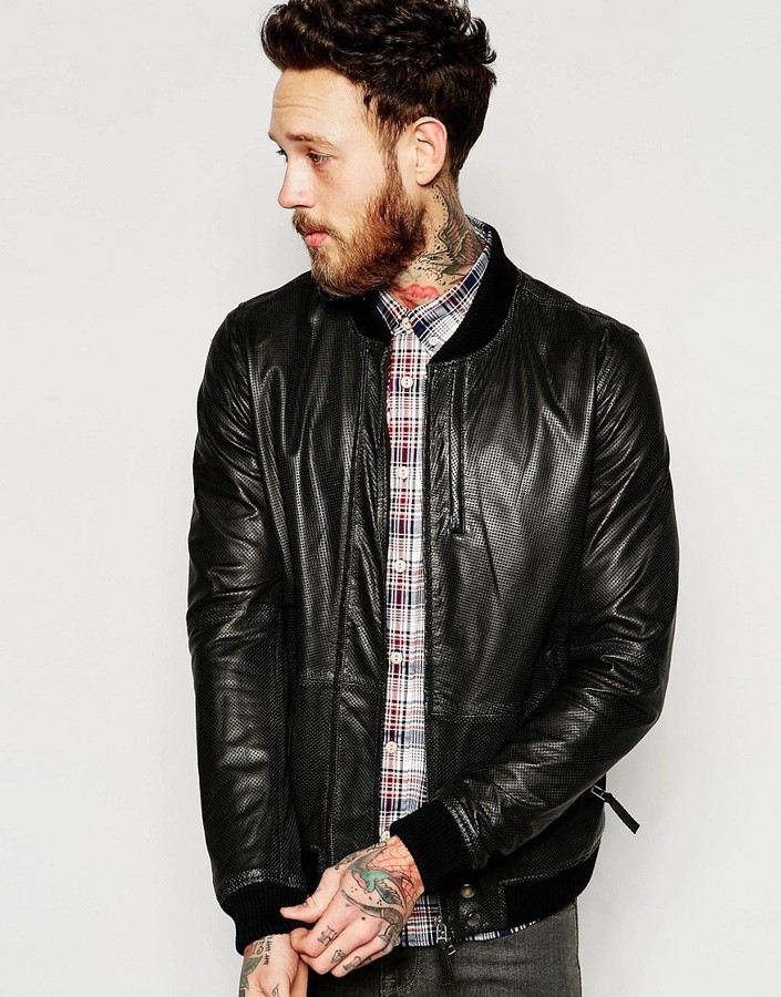 bb6c2a6f5 £432, Pretty Green Leather Bomber With Perfomated Pindot