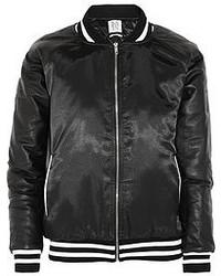 Zoe Karssen Leather Paneled Satin Bomber Jacket