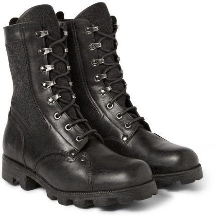 Maison Martin Margiela Replica Leather And Felt Combat Boots ...