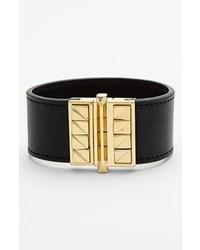 Rebecca Minkoff Curbs Leather Bracelet Black Gold