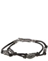 Bottega Veneta Oxidised Silver Embellished Leather Bracelet