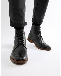 Barbour Belford Leather Brogue Lace Up Boots In Black