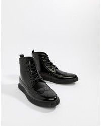 ASOS DESIGN Brogue Boots In Black Faux Leather With Creeper Sole
