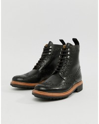 Grenson Fred Brogue Boots In Black Leather