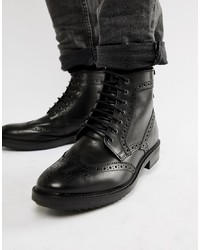 Base London Hopkins Brogue Boots In Black