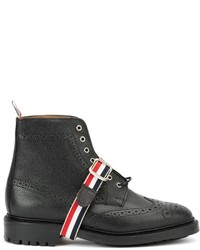 Thom Browne Striped Strap Brogue Boots