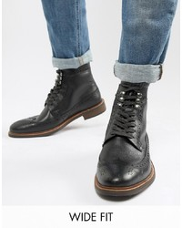 Dune Wide Fit Brogue Boots In Black Leather