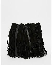 Mango Extreme Fringing Leather Bucket Bag